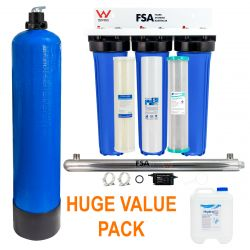 Triple Whole House Rain Water Treatment Filter System | UV + pH Neutralising 1-18-Triple-Kit