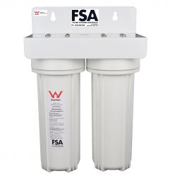 Basic Water Filter Twin Body + Connectors. Watermark Approved Housings (1-22W)