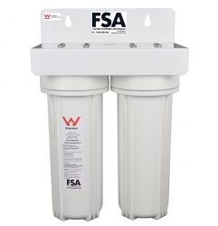 "Water Filter Twin Body 1/2"" Ports. Watermark Approved Includes opening spanner (1-3W,17-0)"