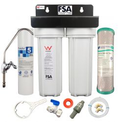DELUXE Twin Undersink Water Filter System Heavy Duty Stainless Bracket 1-46SB