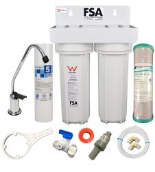 WaterMark Twin Undersink Water Filter System - White Bracket - Filters + Tap 1-46W