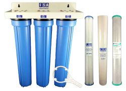 "Triple Whole House Water Filter System 20"" x 2.5"""