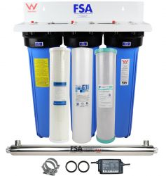 WaterMark Certified Triple Whole House Water Filter System + Ultraviolet Sanitation