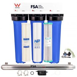 """Whole House Bore Water Filter System 20"""" 4.5"""" UV + Hard Water Conditioner (1-9TWM, 7-9K & 31-1020 x2)"""