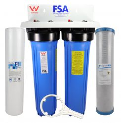 "WaterMark Certified Twin Whole House Water Filter System 20"" x 4.5"" Big Blue (1-9WMW)"