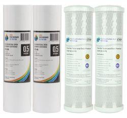2 Pair Premium 0.5 Micron Carbon Filter CTOP2510-P5 & Sediment 0.5 Micron