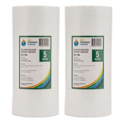"2x Poly Spun Dirt Sediment Water Filters 5 Micron Big Blue 10""x4.5"" Filter 2-16K"