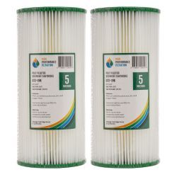 "2x Poly Pleated Washable Sediment Water Filters 5 Micron 10x4.5"" Big Blue 2-19K"