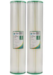 "2x Poly Pleated Sediment Water Filters 5 Micron 20""x4.5"" Big Blue Filter  2-24K"
