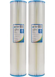 "2x Pleated Washable Dirt Sediment Water Filter 20 Micron 20"" x 4.5"" Big Blue 2-25K"