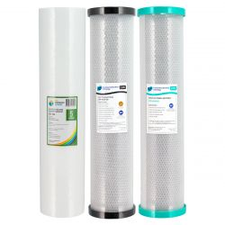 "Triple 20"" x 4.5"" Big Blue Water Filter Pack Dual Carbon"
