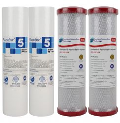 "2 Set Water Filter Cartridges 5 Micron Sediment & 0.5 Micron Chloramine Reduction Carbon 10"" x 2.5"""