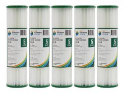 "5x Poly Pleated Washable Dirt Sediment Water Filters 5 Micron 10"" x 2.5"" 2-5K"