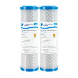 "2x Carbon Block Water Filters 10"" x 2.5"" Lead + Heavy Metal Pentek Equivalent CBR2-10"