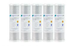 "5x Pure Premium CTO Carbon Block Water Filters 0.5 Micron 10"" x 2.5"""