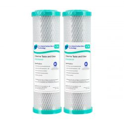 """2x Carbon Block Water Filters 1 Micron 10"""" x 2.5"""" 4-6CTO"""