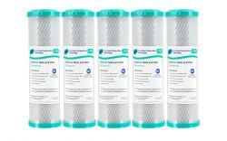 """5x 1 Micron 100% Coconut Carbon Block Water Filters 10"""" x 2.5"""""""