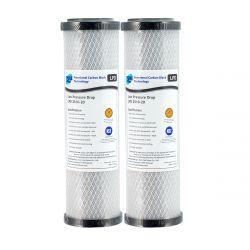 "2x Low Pressure Drop Carbon Block Water Filters 10"" x 2.5"" 20 Micron"