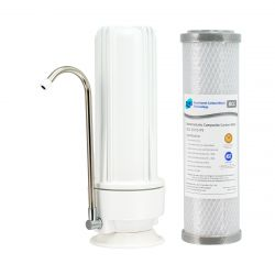 Single Bench Counter Top Water Filter Portable Silver Carbon 0.5 Micron H1-100BCC