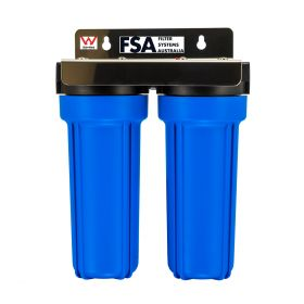 WaterMark Certified Twin Caravan Water Filter System | Stainless Bracket (1-4WMS)