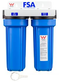 WaterMark Certified Twin Caravan Water Filter System | White Bracket 1-4WMW