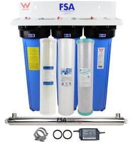 "Whole House Bore Water Filter System 20"" 4.5"" UV + Hard Water Conditioner"