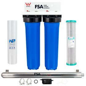 """WaterMark Twin Whole House Rain Water Filter System 20"""" x 4.5"""" Ultraviolet Sanitation"""