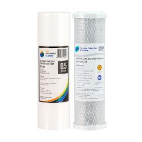 1 Pair Premium 0.5 Micron Carbon Filter CTOP2510-P5 & Sediment 0.5 Micron