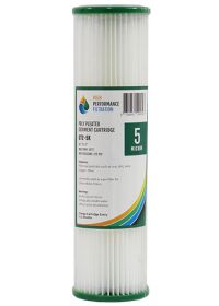 """10"""" x 2.5"""" Pleated / Washable Sediment Water Filter 5 Micron 2-5K"""