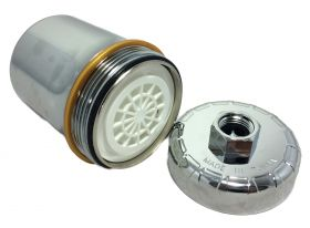 Chrome Plastic HIGH QUALITY Shower Filter KDF/Carbon REMOVES CHLORINE + CHEMICALS