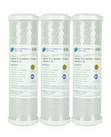 "3x Pure Premium CTO Carbon Block Water Filters 0.5 Micron 10"" x 2.5"""